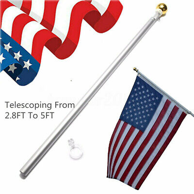 3x5 Flag Pole Gold Ball Kit US USA 5 Ft Sectional Aluminum Flagpole US American • 13.35$