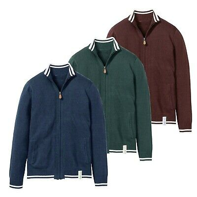 £313.99 • Buy Mens Full Zip Up Cardigan Knitted Funnel Neck Collar Sweater Long Sleeve Jumper