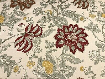 Warwick Byrdcliffe Vintage Fabric | Gold Red Floral Cloth | Upholstery Curtains • 14.95£