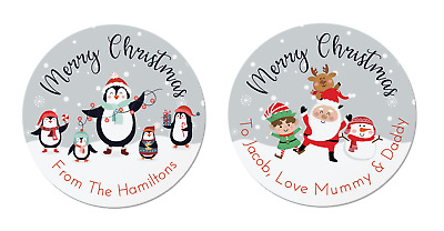 24 Personalised Christmas Labels / Stickers, 2 Designs, Penguin,Santa, Rudolph,  • 1.99£