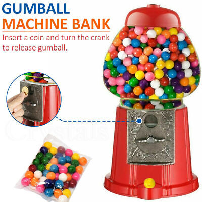Mini Gumball Dispenser Machine Toy With Bubble Gum Party Bag Coin Operated - Red • 18.89£