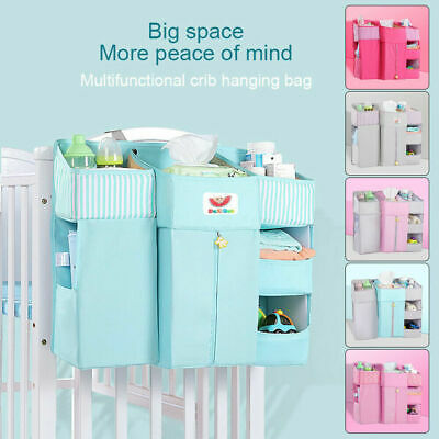 Baby Crib Cot Bed Storage Bag Hanging Pocket Diaper Nappy Clothes Organizer Best • 19.99£