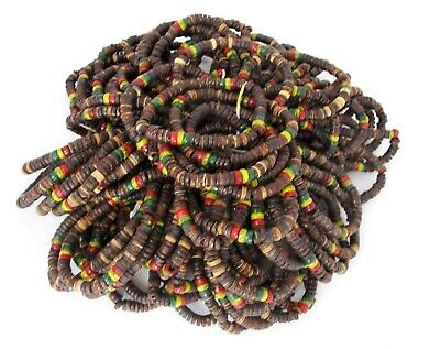 $34.99 • Buy 100 Rasta Reggae Bracelet Natural Brown Wood Bead Elastic Stretch Wholesale Lot