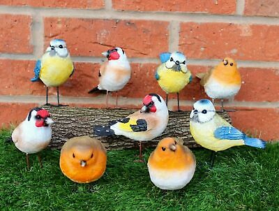 £14.99 • Buy 3 X Wild Bird Ornaments For Garden Red Robins Bluetits Goldfinch Colourful Resin