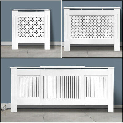 £45.99 • Buy Modern Radiator Cover White Painted Wall Cabinet E1 MDF Slats Grill Furniture