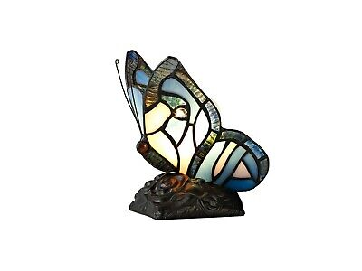 £42.95 • Buy Blue/Pink Butterfly Tiffany Style Handmade Glass Table / Desk Lamps With Crystal