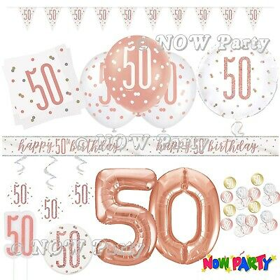 Rose Gold 50th Birthday Party Decorations Girls Ladies Balloons Banners Age 50 • 1.69£