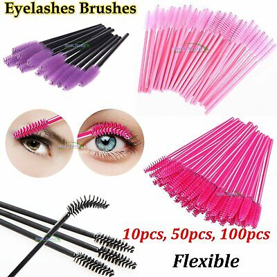 Disposable Eyelash Brush Mascara Wands Eyebrow Spoolie Brush Cosmetic Brush Kit • 2.33£