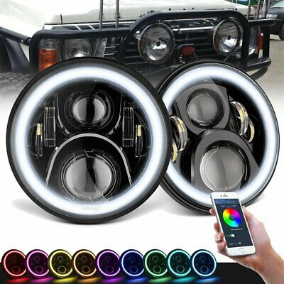 AU135.99 • Buy 2x 7inch RGB LED Projector Headlights Halo Angel Eye Bluetooth APP For GQ PATROL