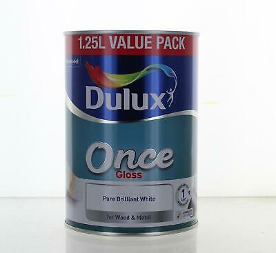 Dulux Once Gloss Pure Brilliant White Paint 1.25L Wood & Metal Interior Exterior • 14.99£