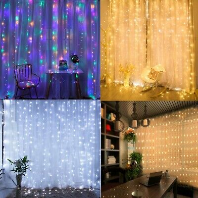 $13.99 • Buy 8 Modes Fairy LED Curtain String  Lights Christmas / Wedding Indoor Decoration