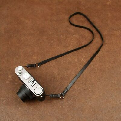 Black Leather Camera Strap With Ring & String Loop Connection For Light Cameras • 22.99£