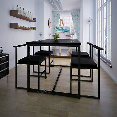 AU365.28 • Buy 5 Piece Dining Table Set 4 Chairs Setting Kitchen Furniture Black