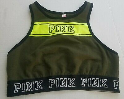 Victoria Secret PINK Women Olive Racerback Sports Bra Size Small  • 11.99$