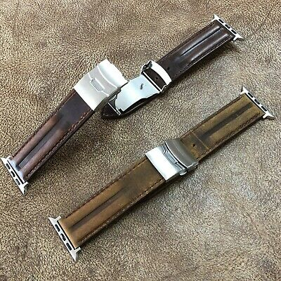 $ CDN22.55 • Buy Apple Watch 42/44mm Cow Leather Watch Strap/Band Deployment Clasp Buckle #A-143