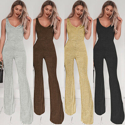 Womens Jumpsuit V-Neck Wide Leg Flared Long Playsuits Xmas Party Romper Trousers • 10.29£