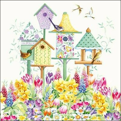 5 Paper Party Napkins For Decoupage Bird Box Pack Of 5 3 Ply Tissue Serviettes • 2.50£