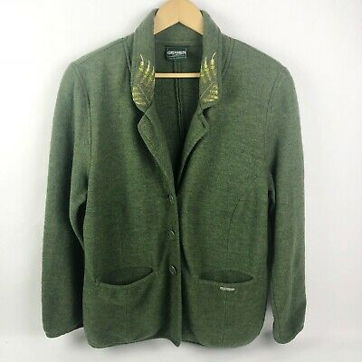 $60 • Buy Geiger Austria Size US 20 Green Wool Blazer Jacket Button Front Womans 46 XXL