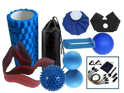 AU135 • Buy Foam Roller Set 10in1 Kit-Spiky & Deep Tissue Ball-11pc Resistance Band Kit AU