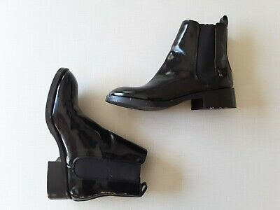 ZARA BASIC Collection Size 36 Black Patent Leather Chelsea Ankle Boots • 59$