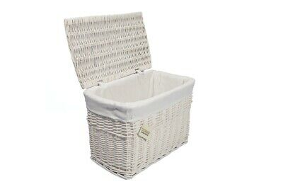 Medium White Wicker Storage Basket Trunk Chest Hamper Lidded With Cloth Linning • 22.99£