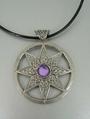 Celtic Flower Necklace Pendant. Set On Leather Cord. Lilac Rhinestone Gem • 3.50£