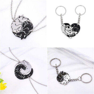 AU4.22 • Buy Yin & Yang Stainless Steel Cat&Dog Wolf Necklace Keychain For Couples Lover Gift