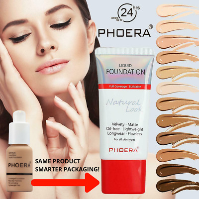 Phoera Foundation Matte Skin Full Coverage Long Lasting Face Makeup Concealer Tu • 4.50£