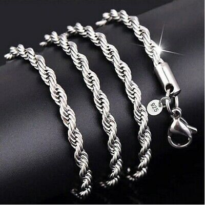 £5.35 • Buy Elegant 925 Sterling Silver Plated 2mm Rope Necklace Chain For Women 16 - 22inch