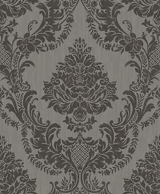 Seleina Damask Vinyl Wallpaper Grey Black Glitter Floral Ornament Texture Holden • 12.99£