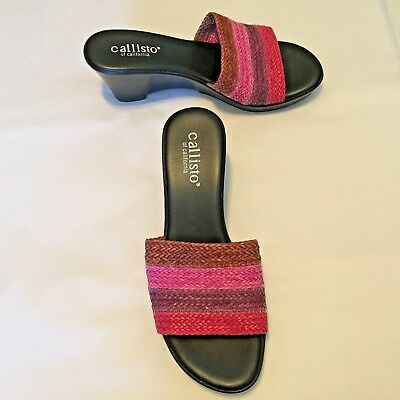 $9.95 • Buy Callisto Of California Women's Shoes Pink Red Slide Sandals 3  Heel Size 39 8.5