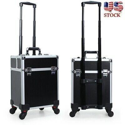 $64.99 • Buy Professional Rolling Makeup Trolley Case Aluminum Nail Cosmetic Beauty Train Box