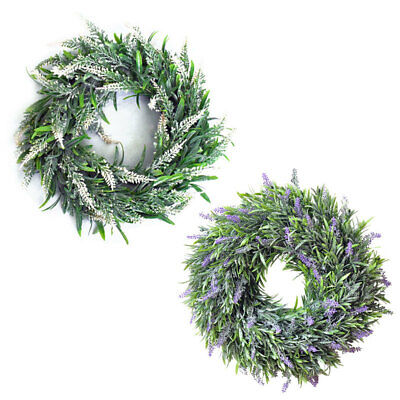 £9.95 • Buy 30cm Artificial Lavender Flower Wreath Home Store Door Wall Hanging Floral Ring