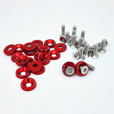 $9.98 • Buy 20pc Red Billet Aluminum Fender Bumper Washer Bolt Engine Bay Dress Up Kit