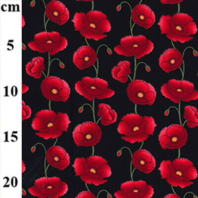 $8.27 • Buy 100% Cotton Fabric - Red Poppy Flowers On Black - Craft Fabric Material Metre