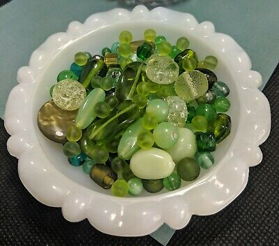 $ CDN14.99 • Buy Vintage New Lot Of Mixed Beads Art Glass, Lucite, Stone 150g GREEN Craft Jewelry