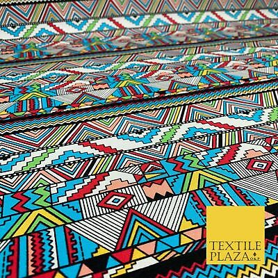 Colourful Wacky Aztec 100% COTTON CANVAS Printed Fabric African Craft 58  1707 • 11.99£