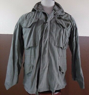 $49.99 • Buy VTG M65 Military US ARMY FIELD JACKET GREEN HOODED OG107 Cotton Sateen Mens Sm S