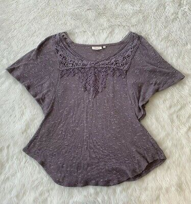 $ CDN22 • Buy Deletta Grey Lace Crocheted Bell Sleeve Knit Top Blouse Size M Anthropologie