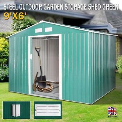 9X6 Large Garden Shed Metal Apex Roof Outdoor Storage With Free Foundation Green • 229.99£