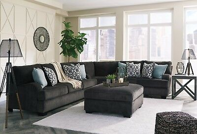 $1225 • Buy Ashley Furniture Charenton 3 Piece Sectional Charcoal Color Living Room 1410177