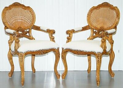 Pair Of Lovely French Provincial Carver Wicker Cane Back Carved Wood Armchairs • 750£
