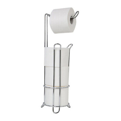 AU17.95 • Buy Chrome Free Standing Toilet Paper Roll Holder Bathroom Storage 17x17x62cm