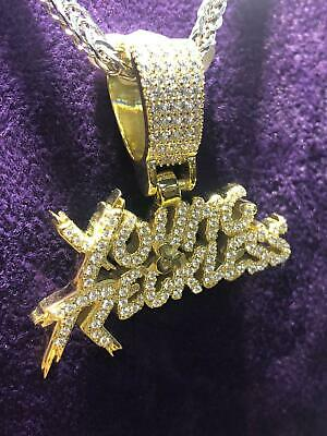 Gold Plated Sterling Silver YOUNG RECKLESS Icy Shine Bling PENDANT BRAND NEW • 74.90£