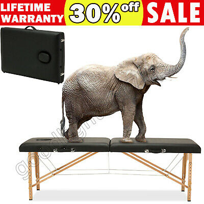 Portable Massage Table Light Weight Beauty Therapy Couch Bed 2 Section Wooden • 69.46£