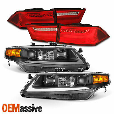 $534.99 • Buy Fits 04-08 Acura TSX LED Light Tube DRL Projector Headlights + Red Tail Lights