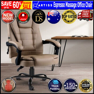 AU149.05 • Buy Artiss Massage Office Chair PU Leather Recliner Computer Gaming Chairs Espresso