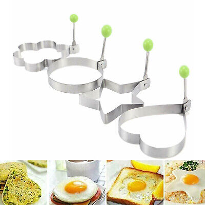 4 Stainless Steel Frying Pan Fried Egg Pancake Cooking Ring Mould Shaper Mold UK • 4.49£