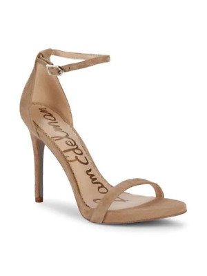 $ CDN45.42 • Buy Sam Edelman Ariella Ankle Strap Sandals Heels Oatmeal Open Toe Leather Suede NIB