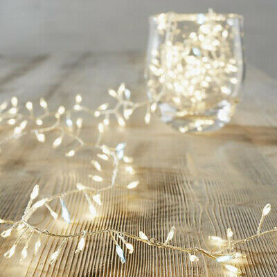 Silver Copper 120 LED Cluster Fairy String Lights Flash Party Wedding Xmas Decor • 3.95£